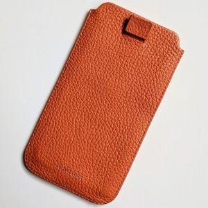 Lucrin Pebbled Orange Real Leather Phone Sleeve